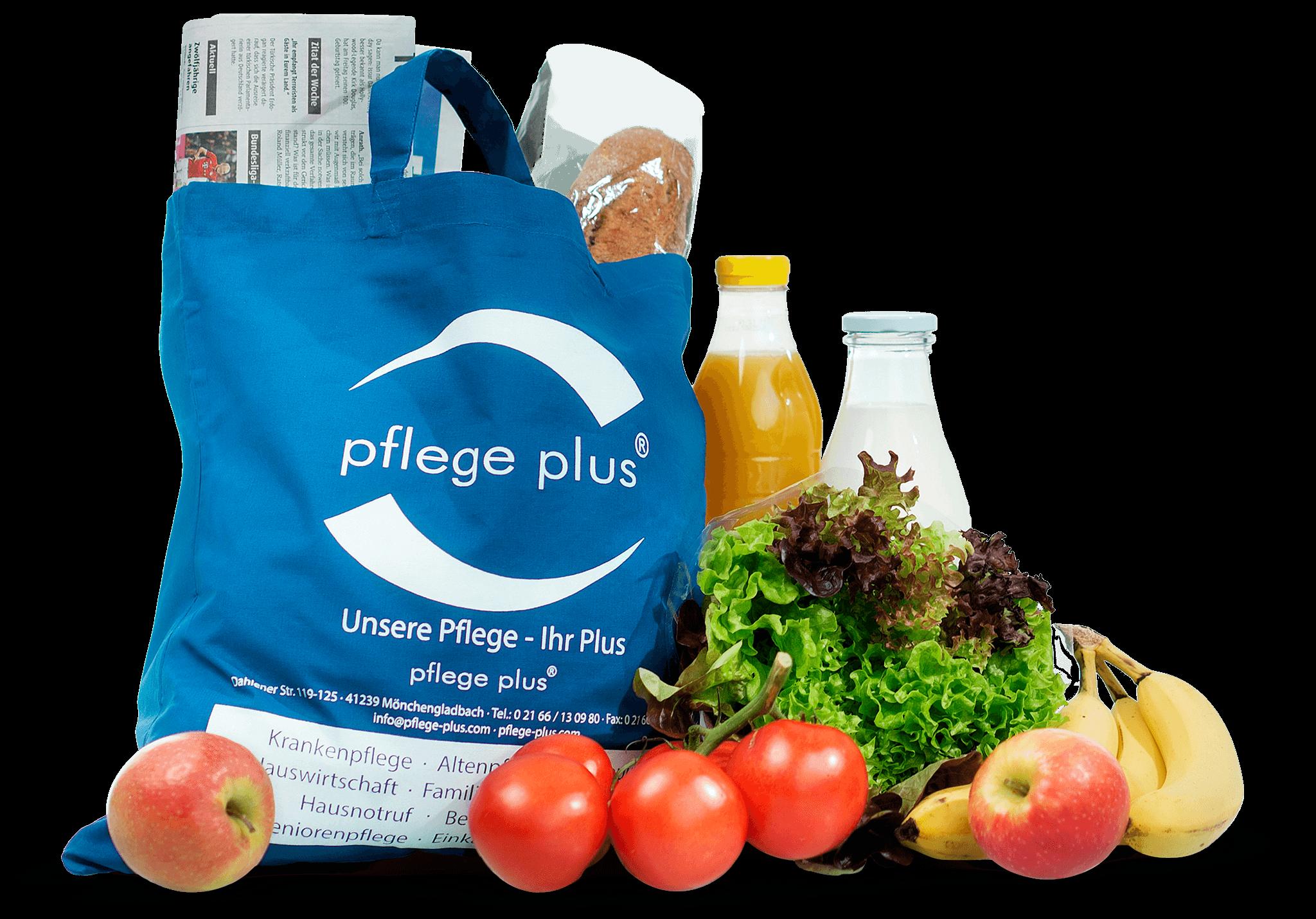 pflege plus Einkaufstasche mit Lebensmittel